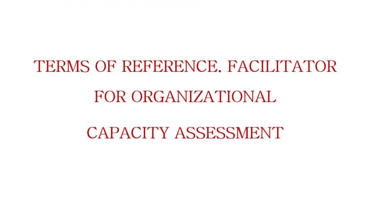 Terms of Reference. Facilitator for Organizational Capacity assessment